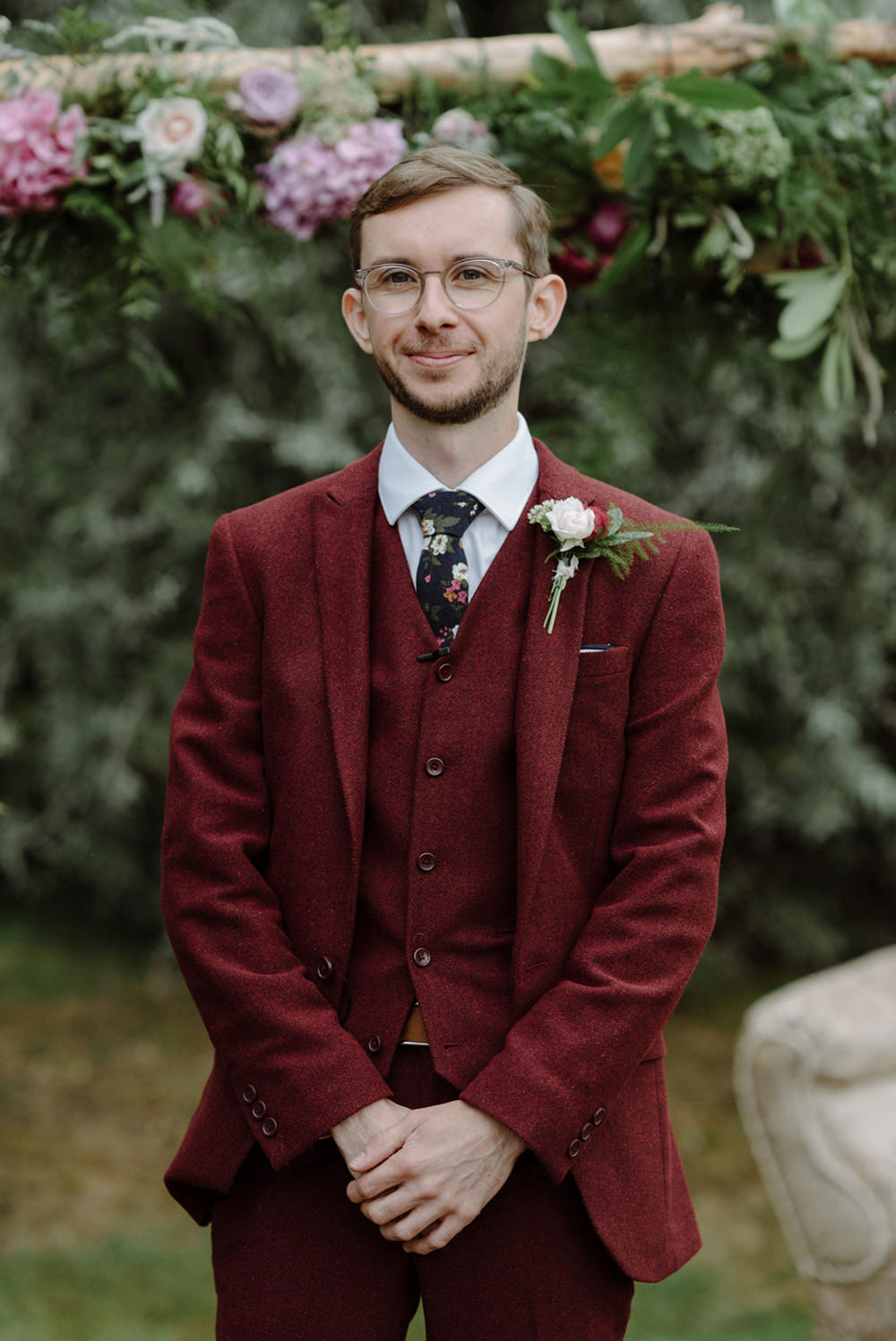 Red Burgundy Three Piece Suit Groom Felin Newydd House Wedding Christopherian.co.uk