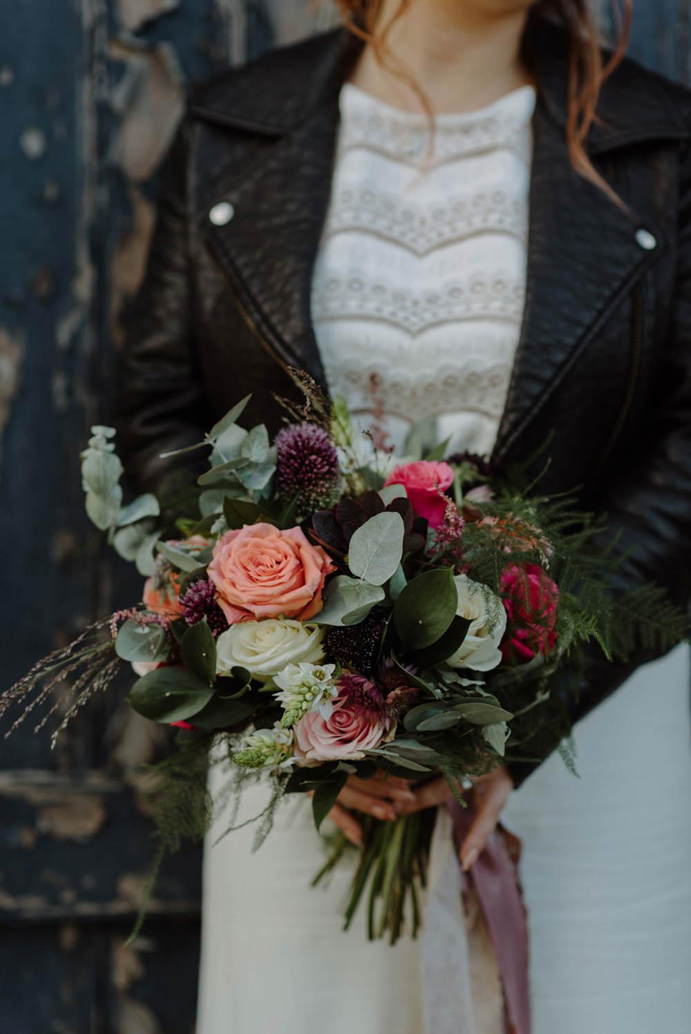 Bride Bridal Bouquet Foliage Eucalyptus Peach Rose Pink Felin Newydd House Wedding Christopherian.co.uk