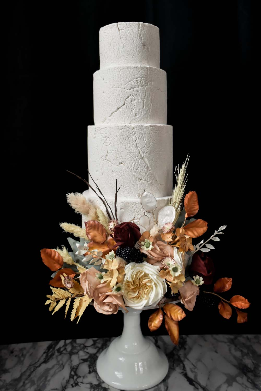 Buttercream Cake Flowers Floral Pampas Grass Leaf Leaves Orange Rose Game Of Thrones Wedding Tara Florence