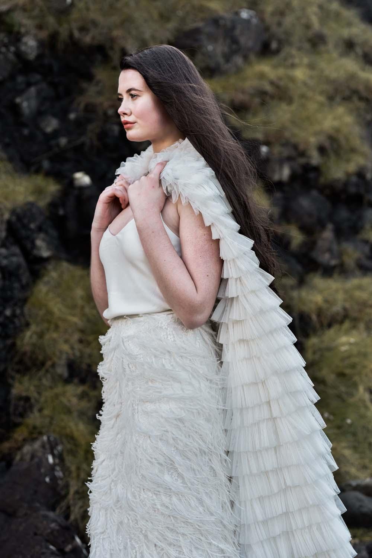 Dress Gown Bride Bridal Eliza Jane Howell Ruffle Belt Train Cape Game Of Thrones Wedding Tara Florence