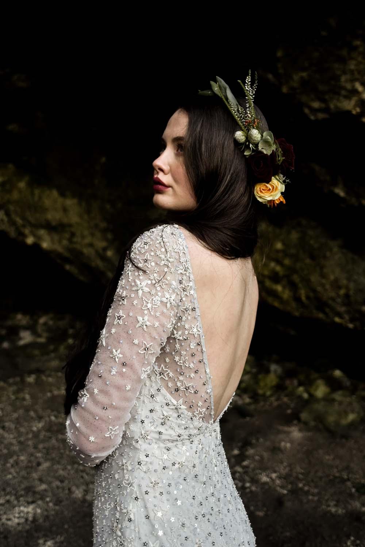 Dress Gown Bride Bridal Eliza Jane Howell Celestial Stars Starry Flower Crown Game Of Thrones Wedding Tara Florence