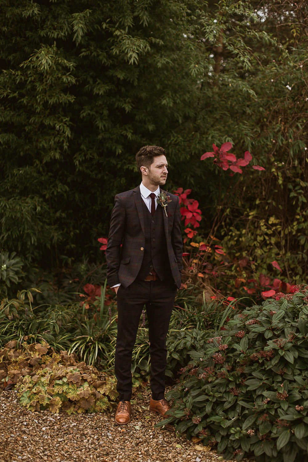 Groom Style Suit Outfit Attire Tartan Burgundy Tie Gate Street Barn Wedding The Springles