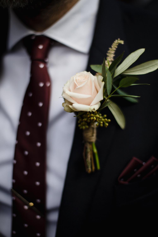 Peach Rose Buttonhole Groom Hornington Manor Wedding Chris Barber Photography
