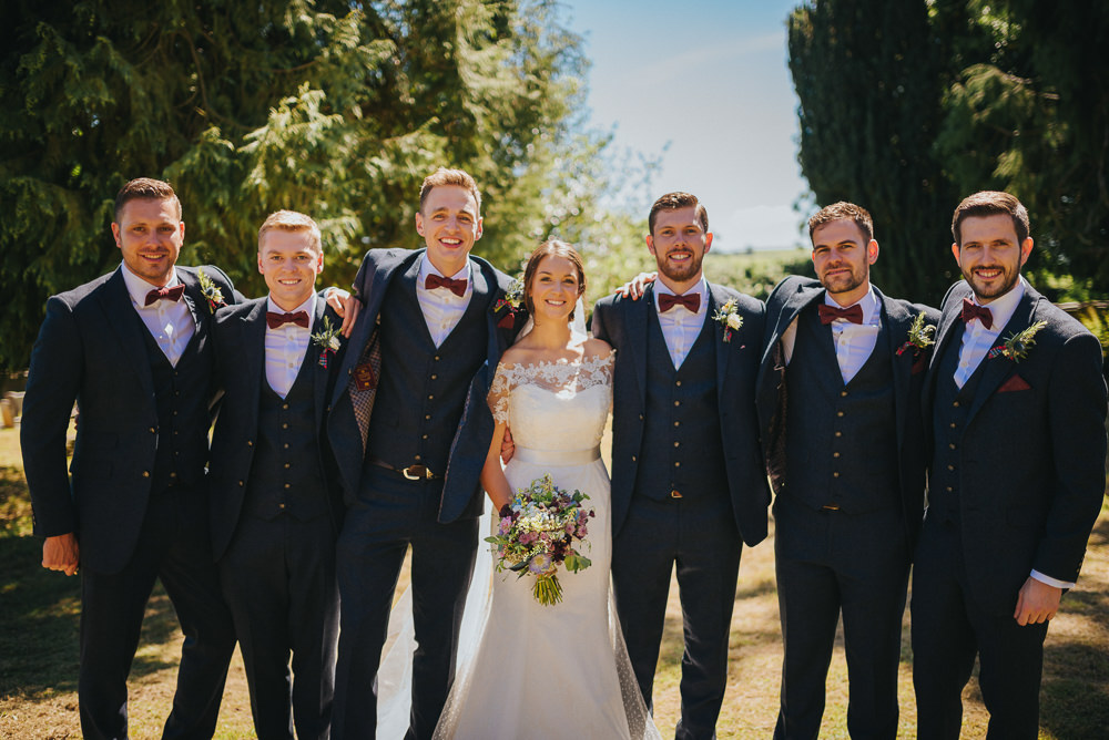 Bride Bridal Dress Gown Sweetheart Bolero Off Shoulder Lace Navy Suit Groom Burgundy Oxblood Bow Tie Groomsmen Kittisford Barton Wedding Joab Smith Photography