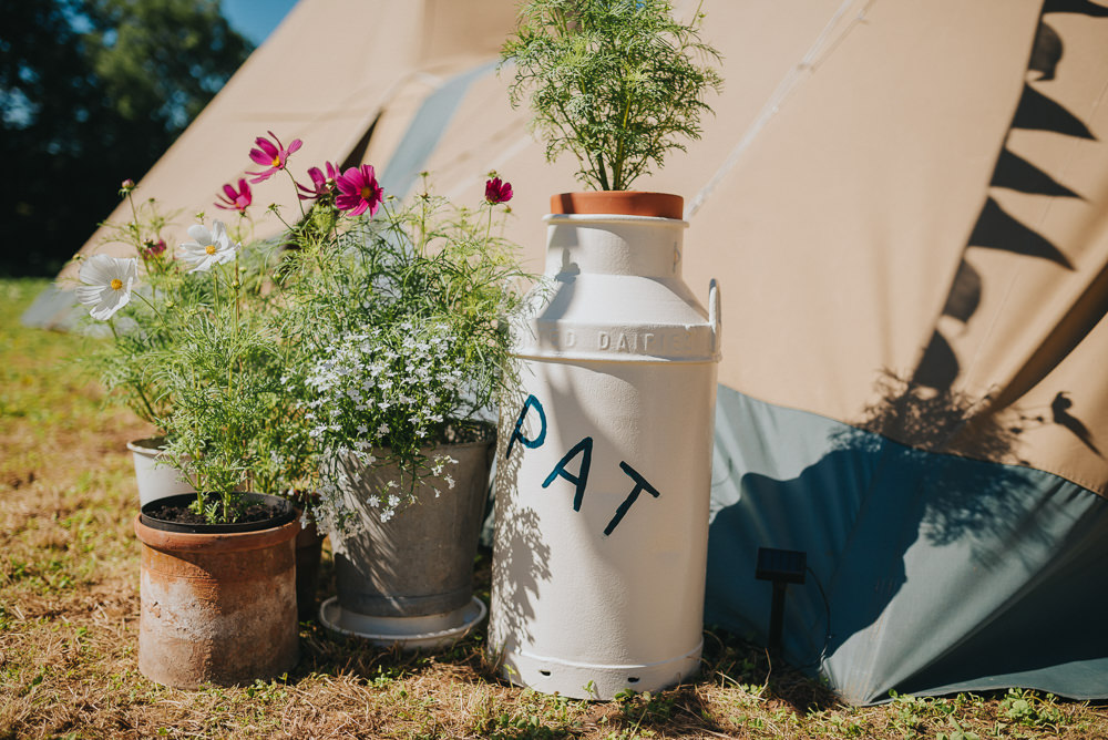 Milk Churn Foliage Tipi Kittisford Barton Wedding Joab Smith Photography