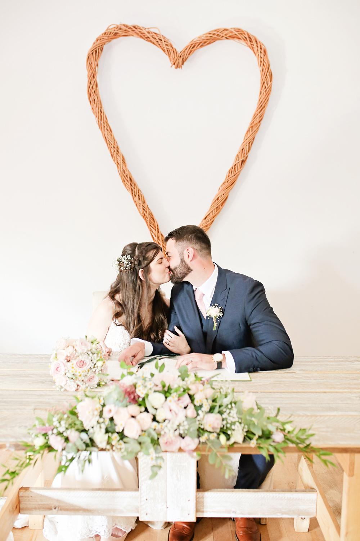Wicker Heart Ceremony Aisle Backdrop Milling Barn Wedding Victoria Mitchell Photography