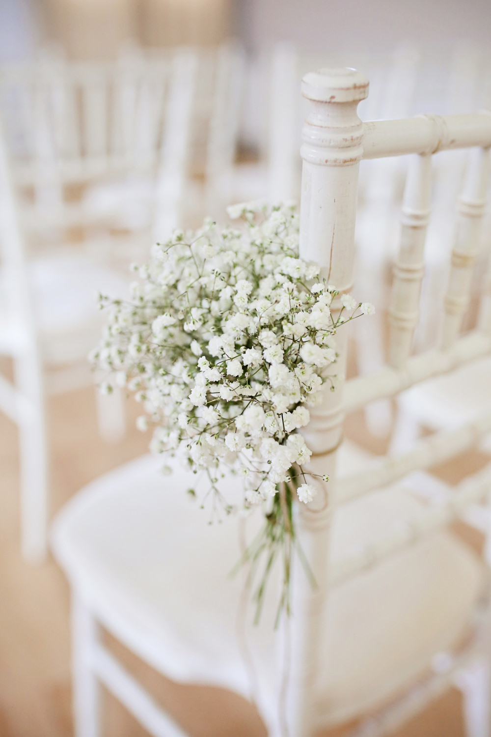 Gyp Gypsophila Baby's Breath Pew End Aisle Chair Flowers Ceremony Milling Barn Wedding Victoria Mitchell Photography