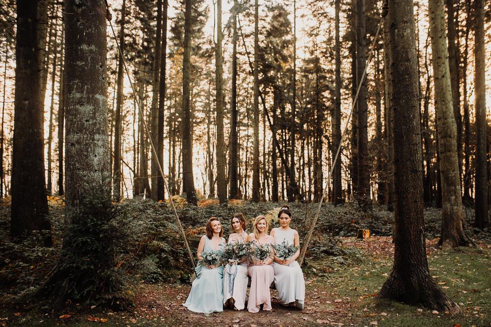 Bridesmaids Bridesmaid Dresses Pastel Dress Swing Outdoor Woodland Wedding Ideas Geometric Meraki Wedding Photography