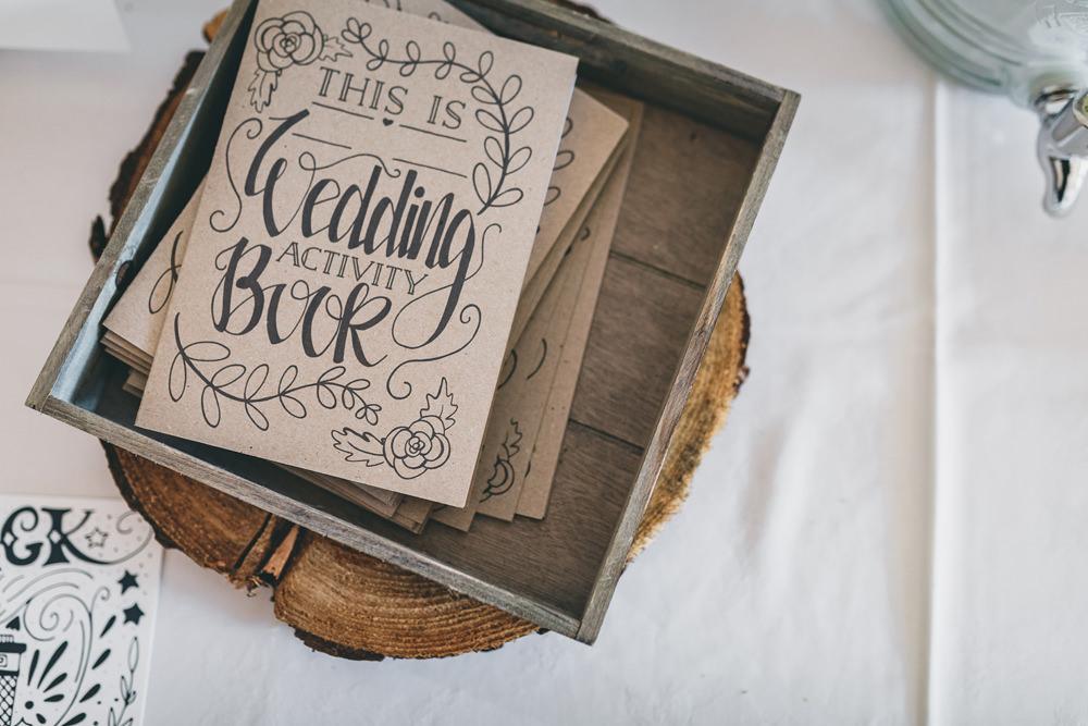 Kids Childrens Activity Book Rock Village Hall Wedding Lucie Hamilton Photography