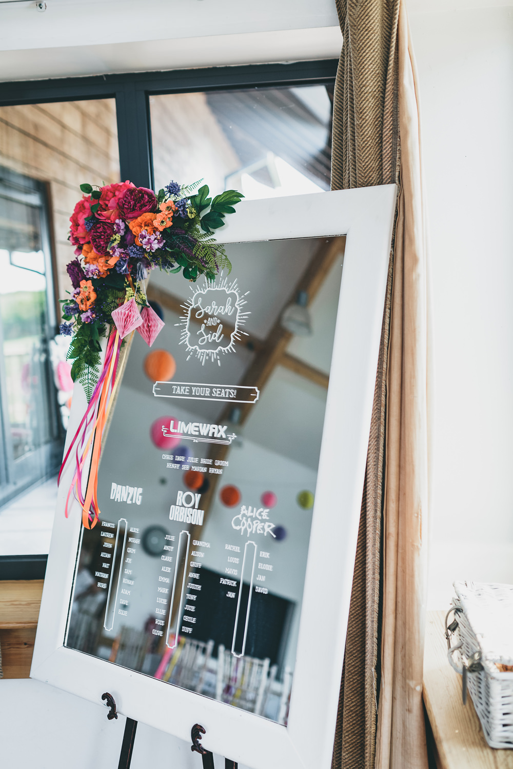 Mirror Seating Plan Table Chart Callligraphy Colourful Flowers Rock Village Hall Wedding Lucie Hamilton Photography