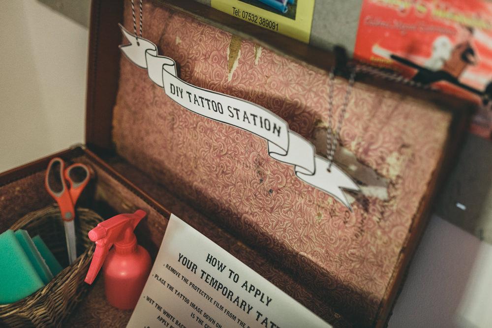 DIY Temporary Tattoo Station Rock Village Hall Wedding Lucie Hamilton Photography
