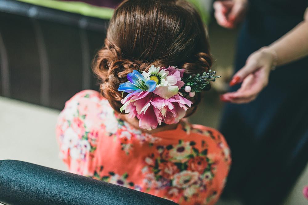 Hair Style Up Do Flowers Bride Bridal Bridesmaid Rock Village Hall Wedding Lucie Hamilton Photography