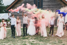 Smoke Bomb Portrait Photo Photographs Rock Village Hall Wedding Lucie Hamilton Photography