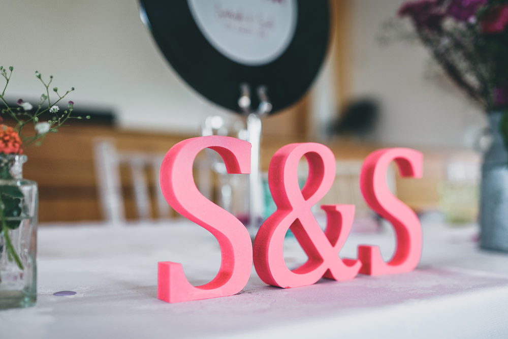 Pink Letters Initials Rock Village Hall Wedding Lucie Hamilton Photography