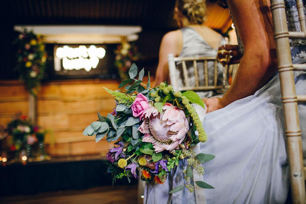 Tropical Multicoloured Flowers Bouquet Tatton Wedding Stock Farm Barn Amy B Photography