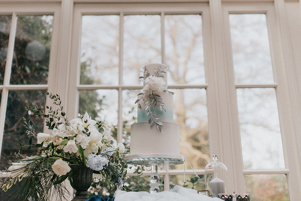 Cake Table Silver Floral Flower Modern Ombre Blue Wedding Ideas Emma McNair Photography