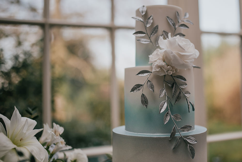 Cake Silver Floral Flower Modern Ombre Blue Wedding Ideas Emma McNair Photography