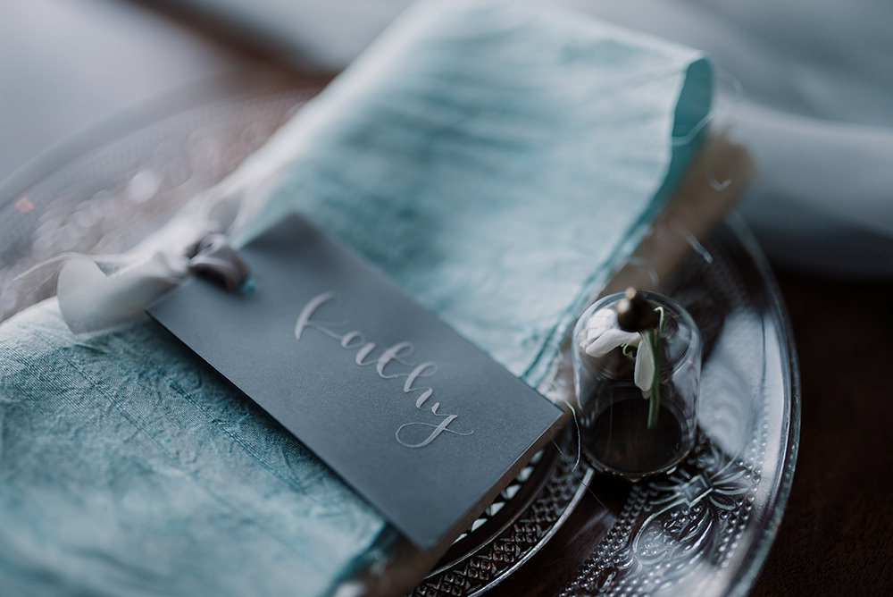Grey White Calligraphy Place Name Cards Tags Napkin Blue Wedding Ideas Emma McNair Photography