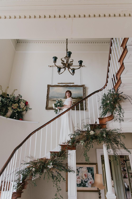 Stairs Staircase Flower Installation Greenery Foliage Arrangement Blue Wedding Ideas Emma McNair Photography