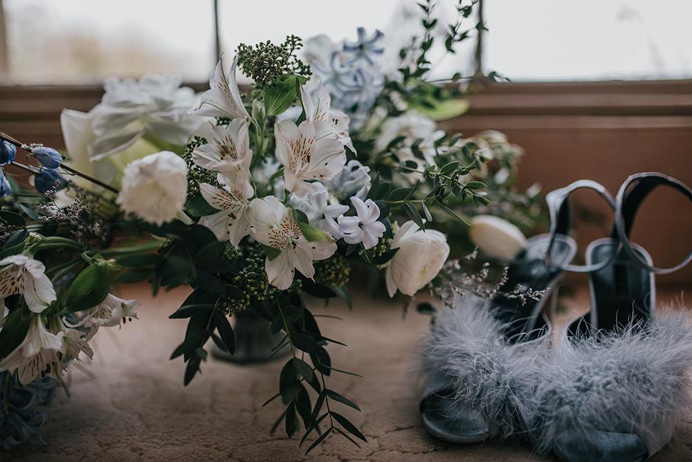 Fluffy Shoes Bride Bridal Pom Poms Blue Wedding Ideas Emma McNair Photography