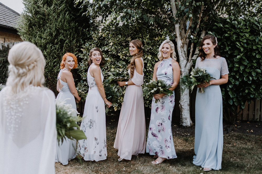 Bridesmaid Bridesmaids Dress Dresses Long Floral Mismatched Botanical Industrial Wedding Caitlin and Jones Photography