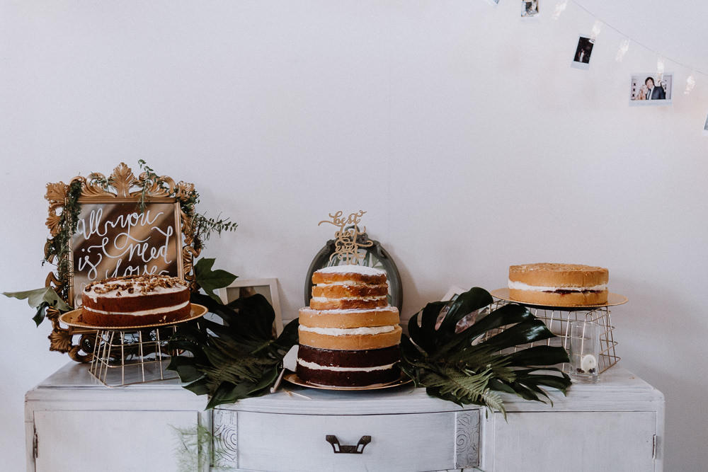 Cake Tabke Palm Leaves Dresser Furniture Naked Cake Botanical Industrial Wedding Caitlin and Jones Photography