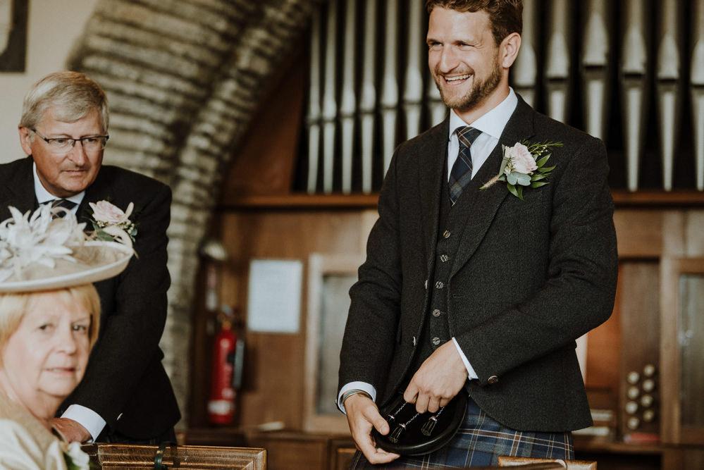 Groom Style Suit Kilt Tartan Bre Pen Farm Wedding Nick Walker Photography