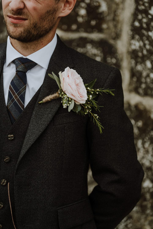 Groom Style Suit Kilt Tartan Rose Buttonhole Bre Pen Farm Wedding Nick Walker Photography