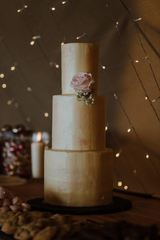 Gold Cake Tier Flowers Bre Pen Farm Wedding Nick Walker Photography