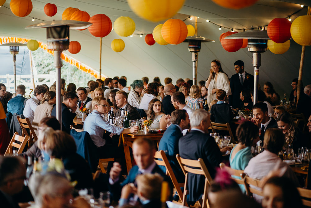 Lanterns Colourful Stretch Tent Wedding Peter Mackey Photography