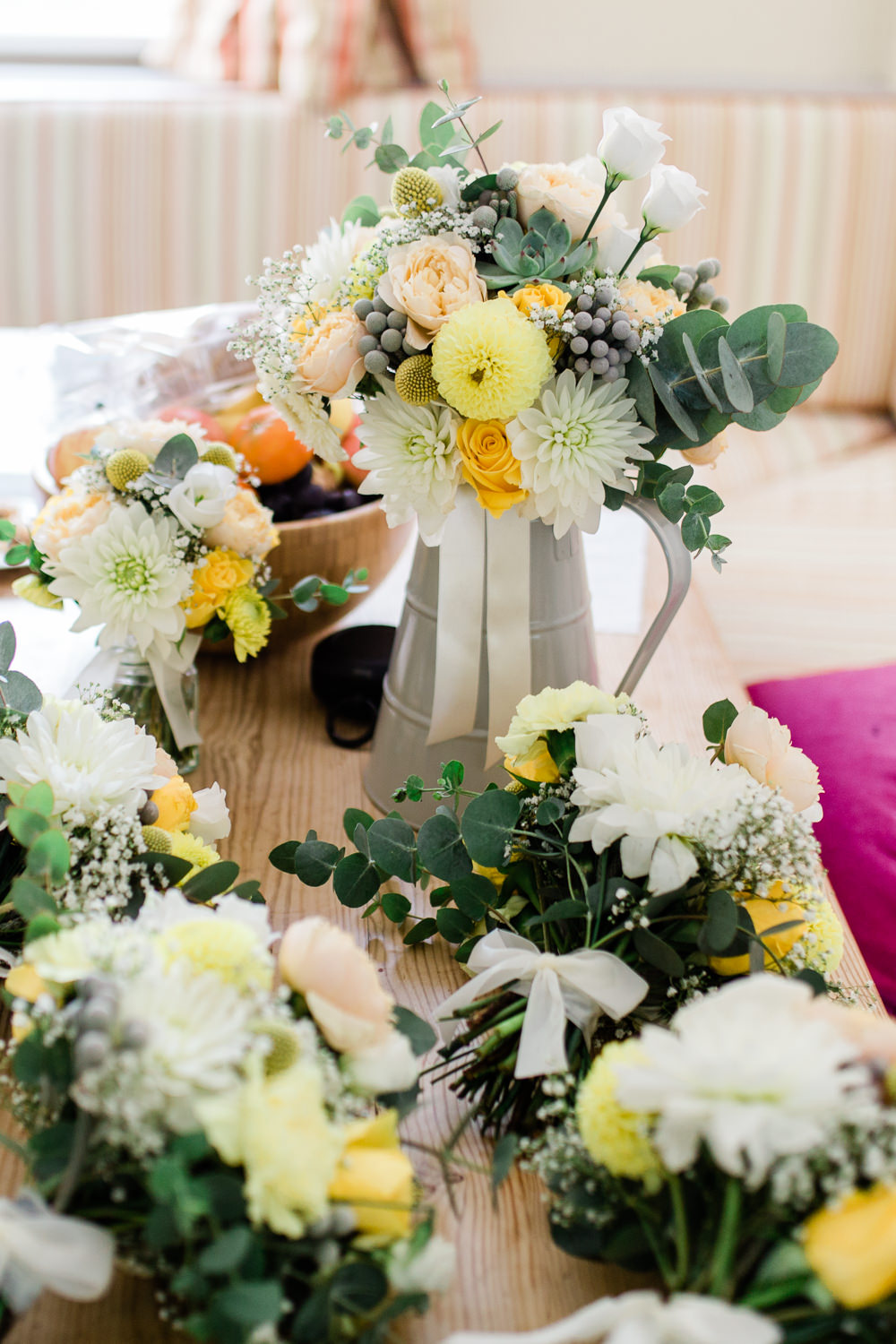 Flowers Floral Yellow White Galvanised Metal Jug Eucalyptus Creative Summer Wedding Gemma Giorgio Photography