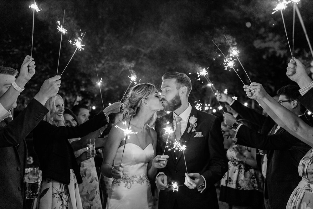 Bride Bridal Sweetheart Neckline Fit And Flare Fishtail Dress Gown Blue Suit Groom Sparkler Send Off Creative Summer Wedding Gemma Giorgio Photography