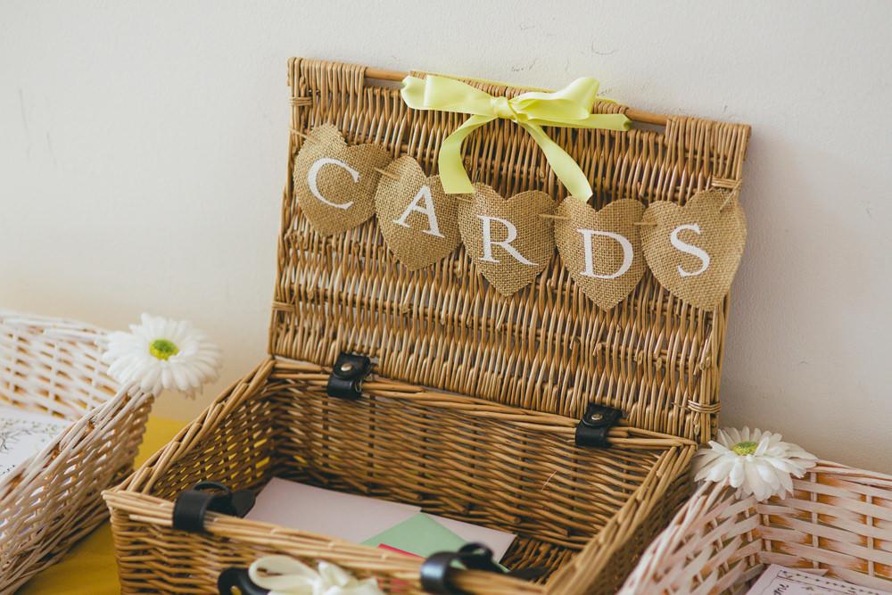 Card Hamper Basket Damerham Village Hall Wedding Lisa-Marie Halliday Photography