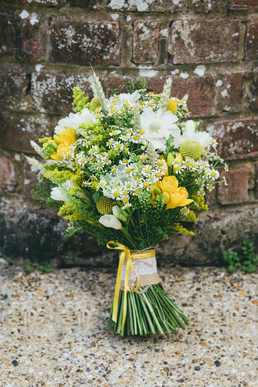 Bouquet Flowers Bride Bridal Yellow Daisy Daisies Damerham Village Hall Wedding Lisa-Marie Halliday Photography
