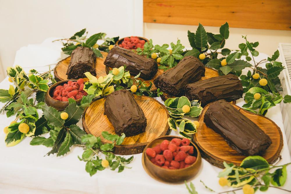 Chocolate Log Cake Damerham Village Hall Wedding Lisa-Marie Halliday Photography