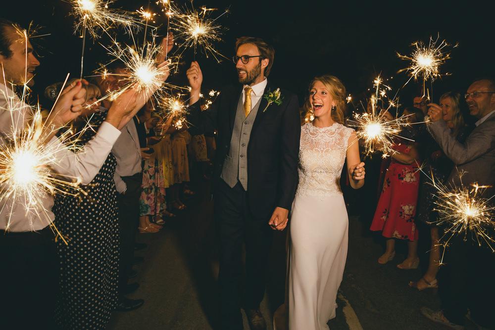 Sparklers Exit Send Off Damerham Village Hall Wedding Lisa-Marie Halliday Photography