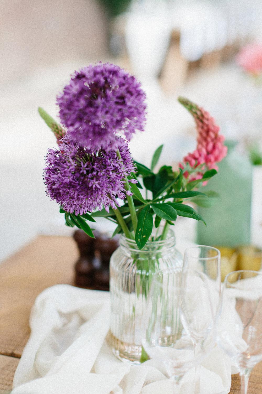 Glass Vase Florals Flowers Garden Ceremony Wedding Melissa Beattie Photography