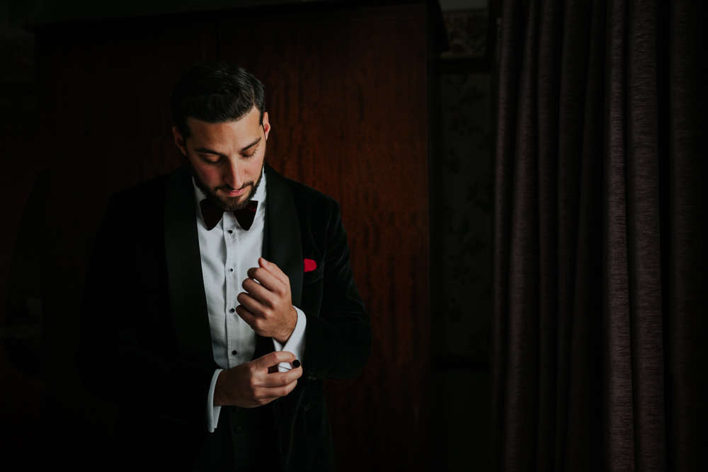 Velvet Tuxedo Groom Bow Tie Gaynes Park Wedding Kate Gray Photography