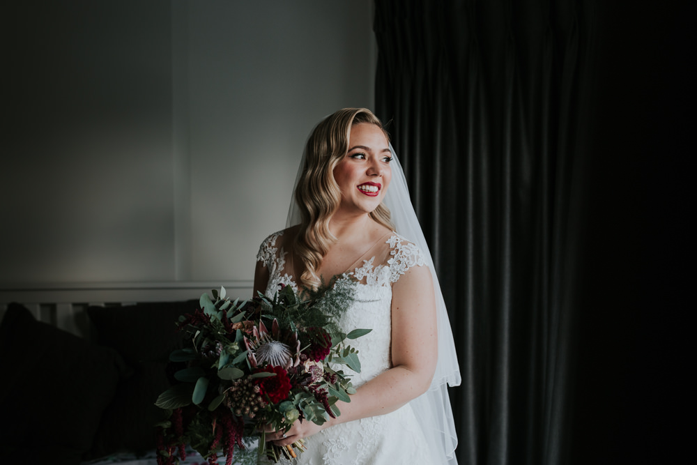 Bride Bridal Cap Sleeve Lace Overlay Dress Gown Veil Eucalyptus Dahlia Bouquet Gaynes Park Wedding Kate Gray Photography