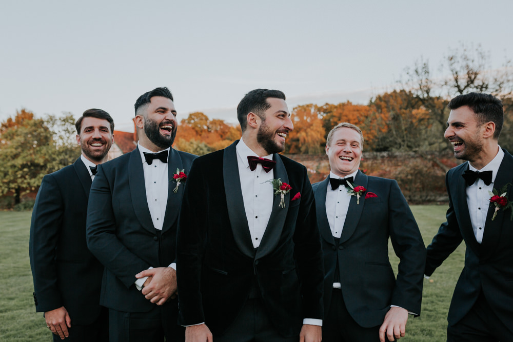 Velvet Tuxedo Burgundy Bow Tie Groom Gaynes Park Wedding Kate Gray Photography