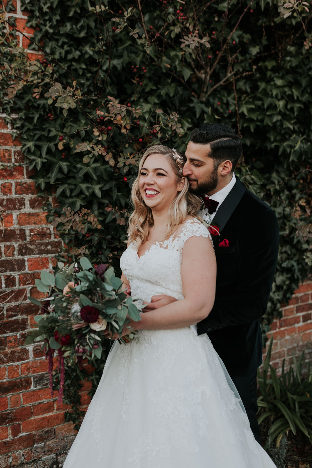 Bride Bridal Cap Sleeve Lace Overlay Dress Gown Veil Velvet Tuxedo Burgundy Bow Tie Groom Greenery Eucalyptus Bouquet Dahlia Rose Gaynes Park Wedding Kate Gray Photography
