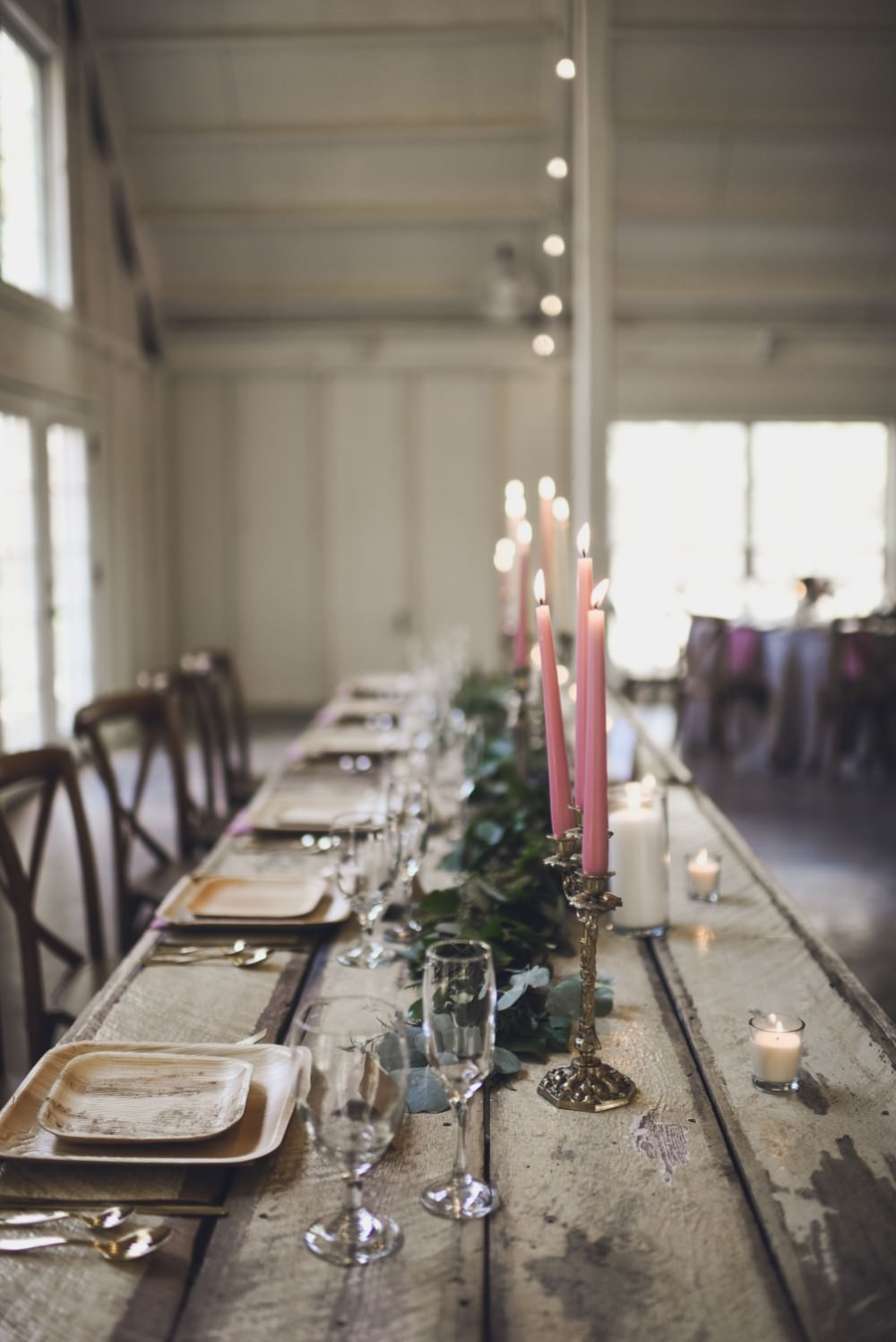 Table Decor Tablescape Flowers Pink Grey Flowers Centrepiece Candles Garland Swag Greenery Top Table Kindred Barn Wedding The Kindred Collective