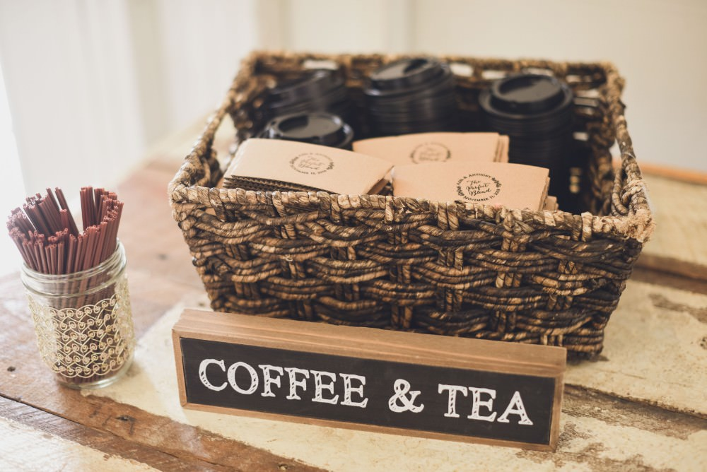 Coffee Tea Station Bar Stand Kindred Barn Wedding The Kindred Collective