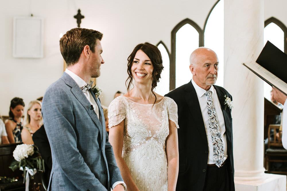 Bride Bridal Jenny Packham Beaded Short Sleeve Dress Gown Blue Suit Groom Portugal Destination Wedding Ana Parker Photography
