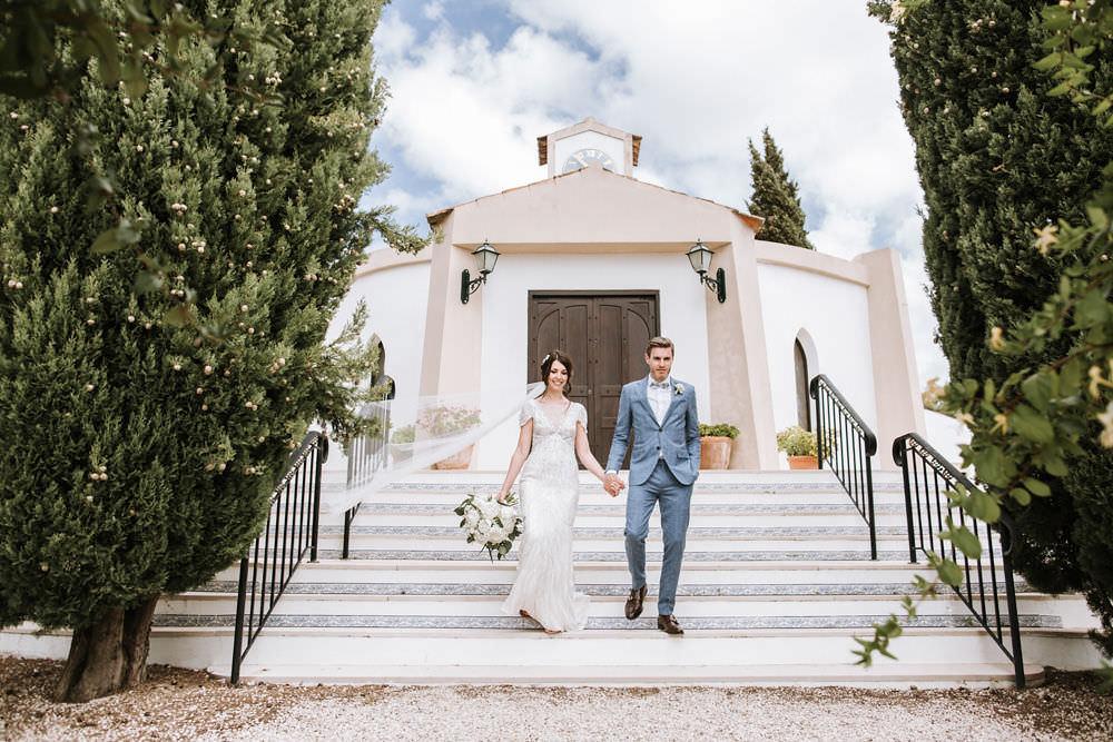 Bride Bridal Jenny Packham Beaded Short Sleeve Dress Gown Blue Suit Groom Hairpiece Veil Portugal Destination Wedding Ana Parker Photography