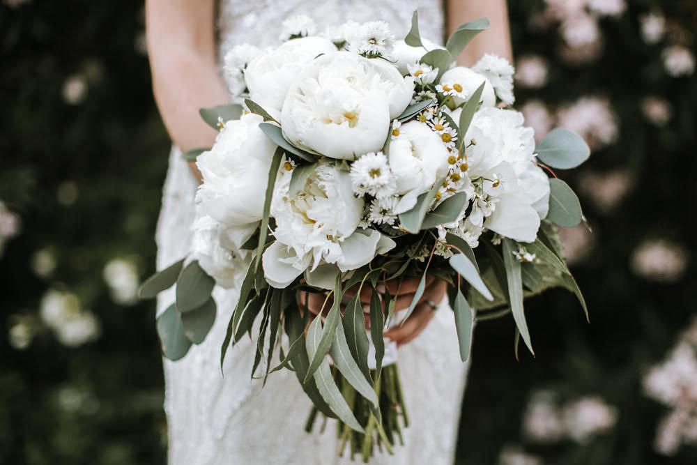 White Peony Bride Bridal Bouquet Daisy Portugal Destination Wedding Ana Parker Photography