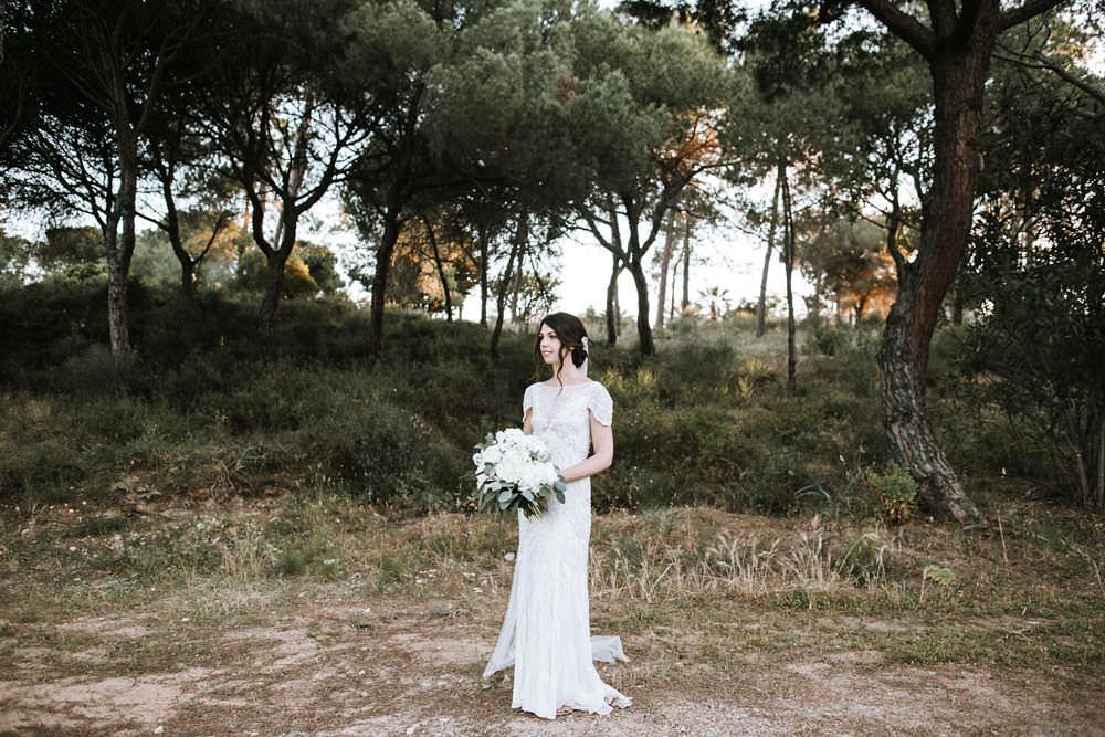 Bride Bridal Jenny Packham Beaded Short Sleeve Dress Gown Bouquet Hairpiece Veil Portugal Destination Wedding Ana Parker Photography