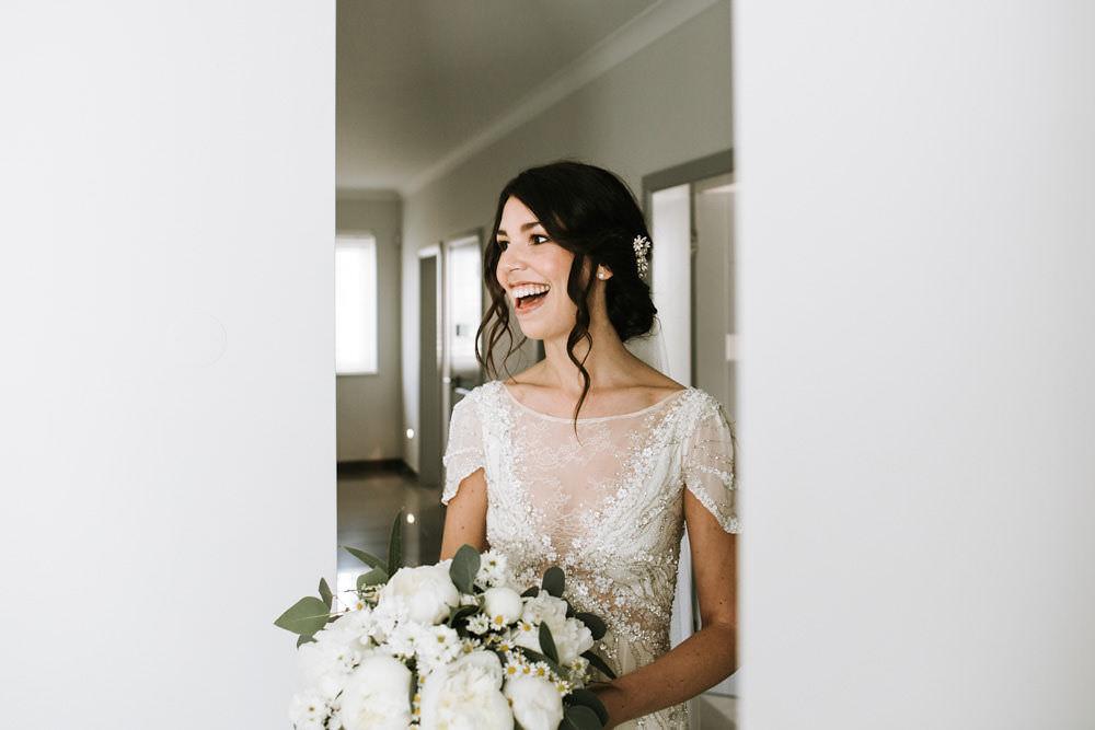 Bride Bridal Jenny Packham Beaded Short Sleeve Dress Gown Hairpiece Veil White Peony Bouquet Portugal Destination Wedding Ana Parker Photography