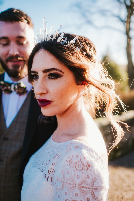 Bride Bridal Make Up Hair Up Do Style Accessory Crown Tiara Romantic Wedding Ideas Neon Lighting Kate McCarthy Photography