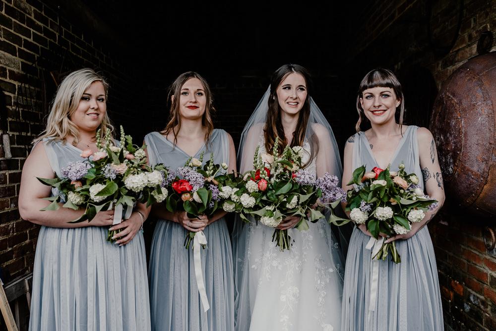 Bridesmaid Bridesmaids Dress Dresses Long Maxi Grey Rustic Barn Wedding Louise Griffin Photography